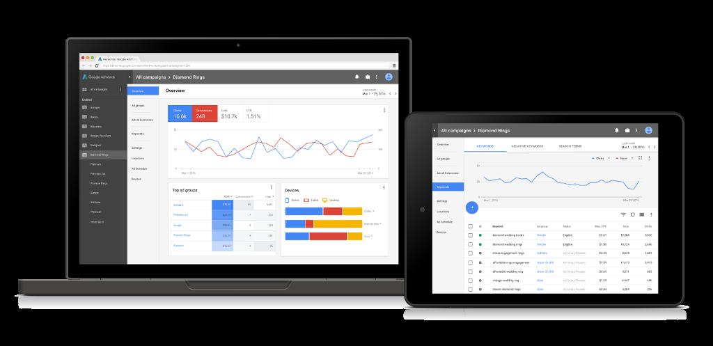Google AdWords - nowy interfejs graficzny