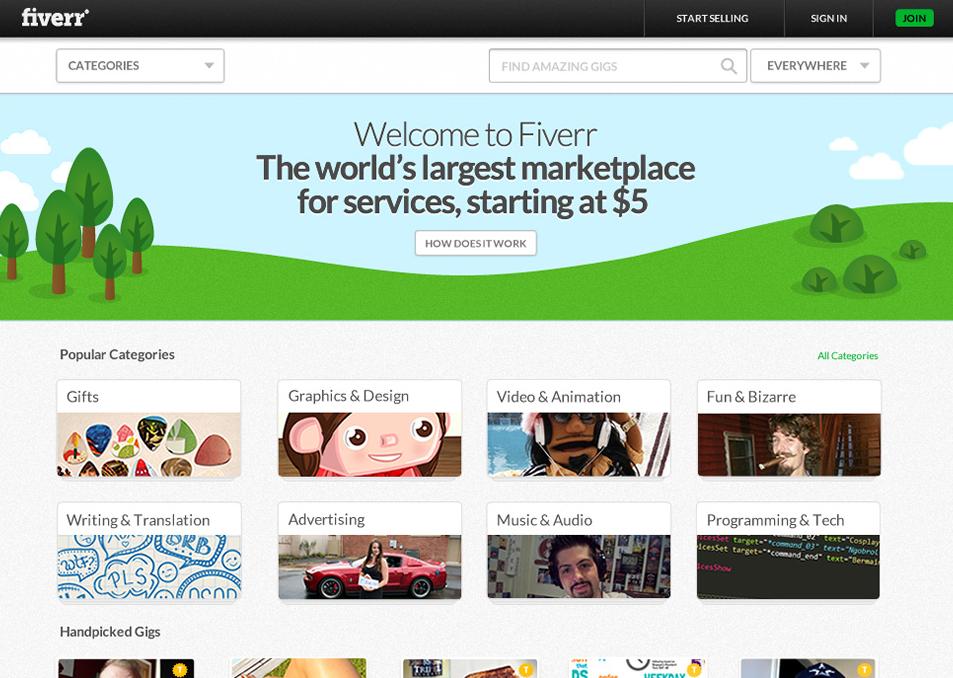 Fiverr - ekran główny