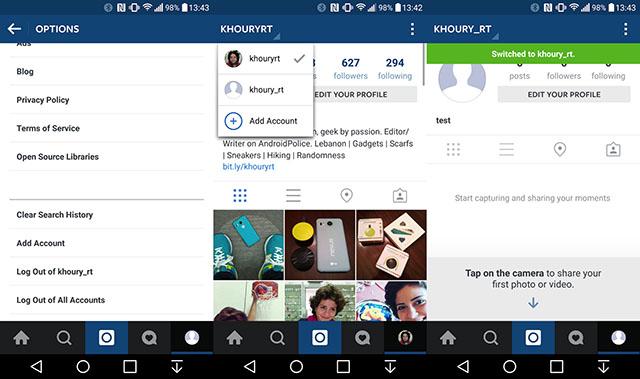 Serwis społecznościowy Instagram - obsługa wielu kont